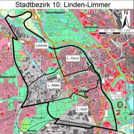 Plan Stadtbezirk 10 Linden-Limmer